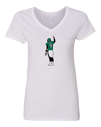 Baku Apparel Jacksonville Team Foles Womens Vneck T-Shirt (White, Small)