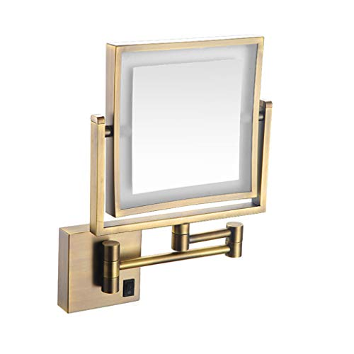 POLAY LED Makeup Vanity Mirrors, Square Double Sided Lighted Cosmetic Mirror Wall Mounted Bathroom Mirrors, Dark Installation,Copper_8 ()