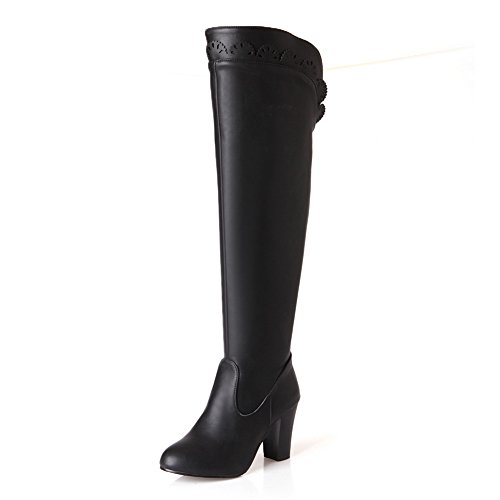 A&N Girls Chunky Heels Back Zipper Carved Flower Soft Material Boots Black T6KkhMo2ZA