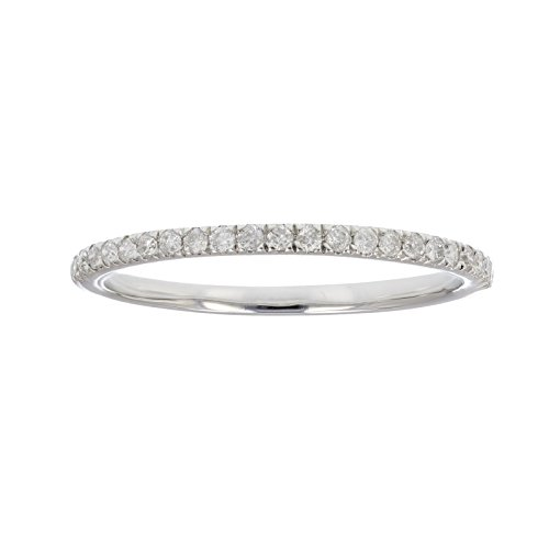 1/6 ctw Pave Diamond Wedding Band in 10K White Gold In Size 6.5 (Pave Diamond Jewelry Set)