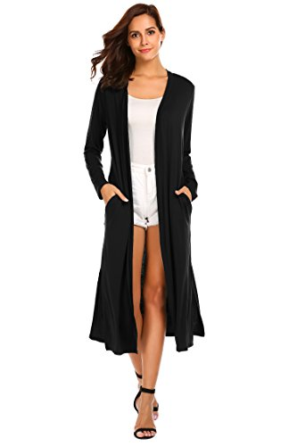 Cardigan Length Knee (Locryz Women's Lightweight Long Duster Sweater Thin Cardigan with Pockets (L, Black))
