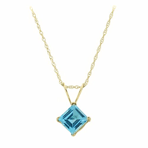.80 CT Square 5MM Blue Topaz Pendant 18