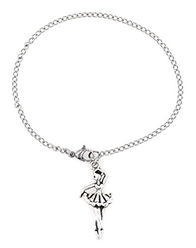 """[7.5"""" - 9.5"""" 316 Stainless Steel Ballerina Ankle Bracelet Anklet, 2mm Curb Chain. Dancer Charm Packaged in an Organza Bag and Placed in a Pillow Gift] (Angelina Ballerina Costume Amazon)"""