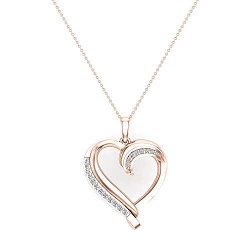 - Glitz Design 14K Gold Necklace Petite Heart Diamond Pendant Pave Set ⅙ ctw (I,I1) (18.00, Rose-Gold)