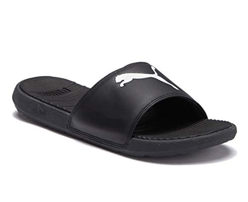 Puma Sandals Lightweight - PUMA Cool Cat Slide Sandal, Black White, 11 M US