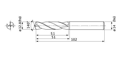 External Coolant 14 mm Shank Dia. Mitsubishi Materials MVE1280X02S140 Series MVE Solid Carbide Drill 2 Hole Depth 2.3 mm Point Length 12.8 mm Cutting Dia