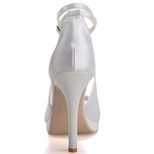 Hebilla Para Tobillo De Graduación Silver Mujer Hlg Sandalias Zapatos Boda Satén Altos Tiras Tacones Fiesta Nupcial 58dqwxd