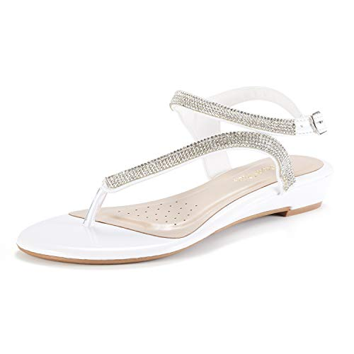 DREAM PAIRS Serpent Women Rhinestones Strap Gladiator Flat Sandals White Size 8 (Rhinestone Metallic Buckle White)