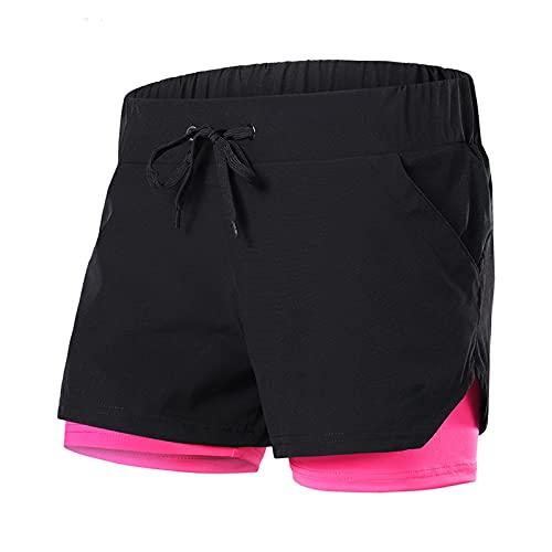 KAHS Dames Running Shorts 2-in-1 Elastische Taille Gym Jogging Fitness Sport Shorts Vrouwen 5214