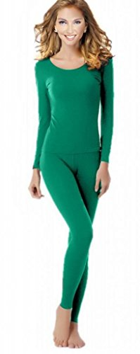 Women's Thermal Underwear Set Top & Bottom Fleece Lined, W1 Green, Small