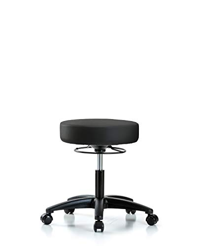 Adjustable Stool for Exam Rooms, Labs, and Dentists with Wheels - Desk Height, Black