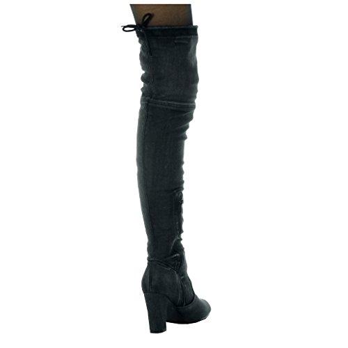 Angkorly Schuhe Blockabsatz 5 Schwarz Denim Reitstiefel Kavalier 8 heel Flexible CM Boot Jeans high damen Oberschenkel r5ZnaOzr