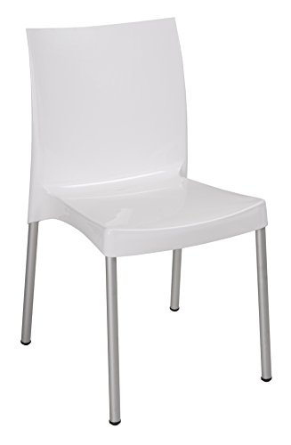 Tensai Nicole Collection Glossy Finish Durable Plastic Chair -White