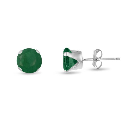 (Round 5mm Sterling Silver Genuine Emerald Stud Earrings, Free Gift Box included)