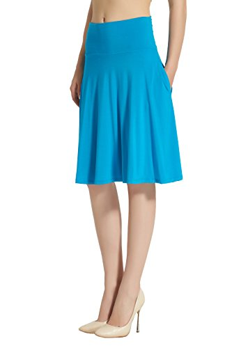 Knit Cotton Skirt Pleated (Modeway Women's Modal High Waist Flared A-line Skater Midi Skirts with Pockets (XXXL, Turquoise))
