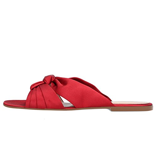 Ladies 46 Shoes Red Beach Slippers Vacation Flat Casual Red Color Size Large Sandals Shoes Size Satin Women's Heel IXT8wxq