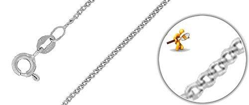 "Or blanc 18ct. Diamant Chaîne et Pendentif initiale ""I Or Blanc 18carats, collier: 40,6cm/40cm -- 45,7cm/45cm -- 50,8cm/50cm"