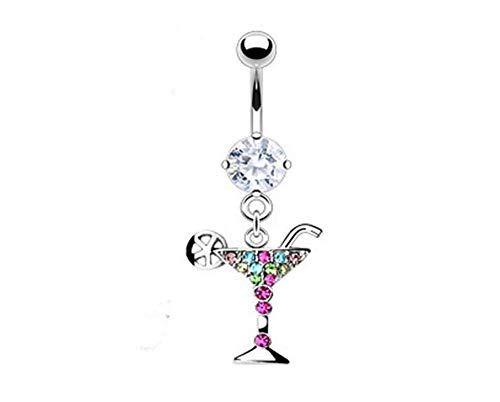 - Freeby 14g Dangling Martini Glass Sexy Belly Button Navel Ring Dangle Body Jewelry Piercing with Multi Color Pendant Body Jewelry