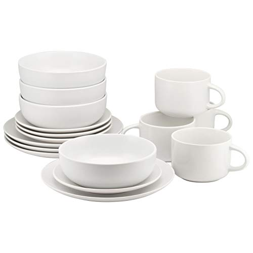 (10 Strawberry Street WM-16-WHT Wazee Matte 16 Pc, White Dinnerware Set, Service for 4,)
