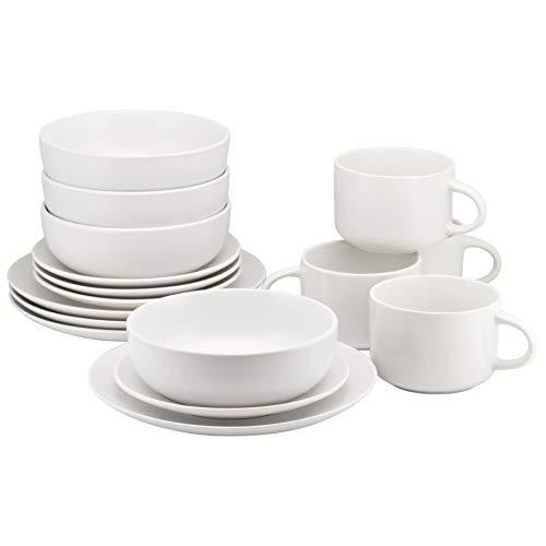 10 Strawberry Street WM-16-WHT Wazee Matte 16 Pc, White Dinnerware Set, Service for 4,