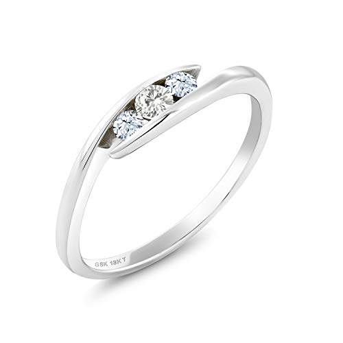 18K White Gold Solitaire Ring Forever Classic Round 0.10ct (DEW) Created Moissanite by Charles & Colvard and Created Sapphire (Size 5)