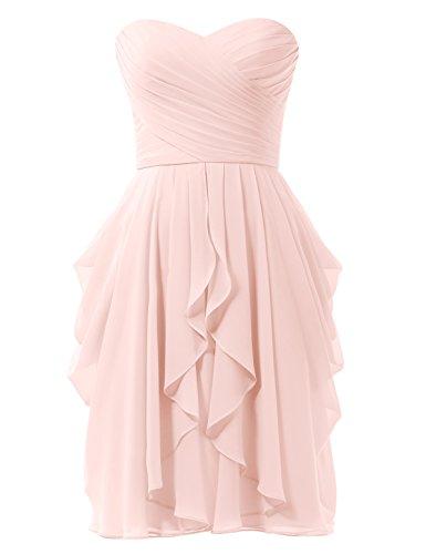 Chiffon Abiti Partito Perla line Pink Cocktail Damigella Prom Breve Donne Delle A Abito Alicepub Da d0xqwIP8d