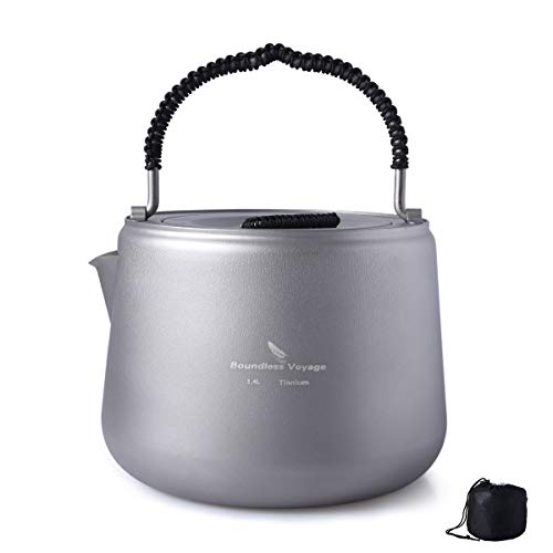 Outdoor Titanium Water Kettle 1.4L Camping Hiking Backing Coffee Tea Pot with Anti-scalding Handle Lid Camp Cooker Ti1584B