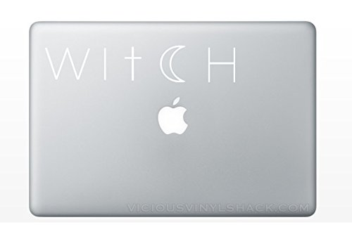 Witch Cross and Crescent Moon Quote Name (WHITE) Vinyl Decal Stickers for MacBook Laptop Car Love Forever Birds Always Relationships Feathers Magic Wicca Halloween Samhain Pagan -
