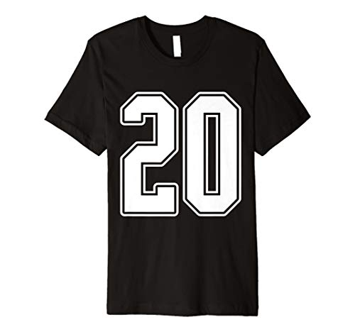 #20 White Outline Number 20 Sports Fan Jersey Shirt Premium -