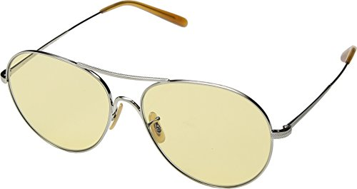 Oliver Peoples Eyewear Women's 30th Anniversary Rockmore Sunglasses, Silver/Yellow, One - Glasses Wire Framed