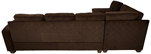 Homelegance 2 Piece Sectional Sofa Polyester With Reversible Chaise and Two Toss Pillows, Chocolate