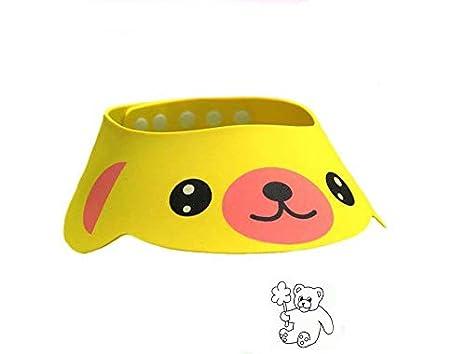 1pcs ajustable beb/é sombrero infantil ni/ños champ/ú ba/ño gorro de ducha lavar pelo visera Shield directa Caps Color Amarillo