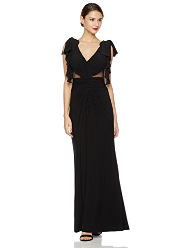 Sheer Matte Jersey Dress (Social Graces Women's Gathered V-Neck Ruffle Sleeve Sheer Inset Gown 14 Black)