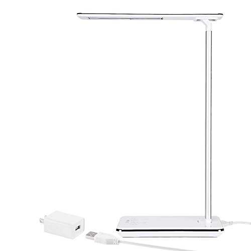 Dimmable Desk Lamp with USB Charging Port, Touch Control, 4 Lighting Modes, Fully Adjustable Brightness, 1 & 2 Hour Auto Timer with Memory Function, Piano White Finish by TORCHSTAR