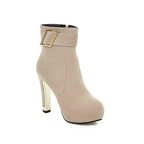 VogueZone009 Damen Rein Hoher Absatz Ziehen auf Rund Zehe Stiefel mit Schleife, Cremefarben, 34