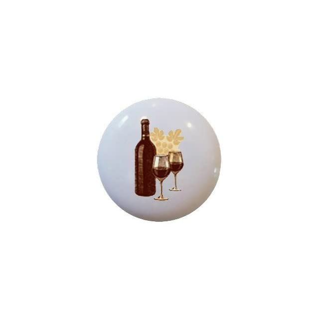 Red Wine Bottle and Glasses Ceramic Knobs Pulls Drawer Cabinet Vanity Bar 950