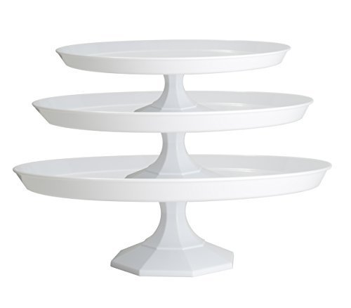 Platter Pleasers Plastic Cupcake/Cake Stand - 3 Piece set (White)