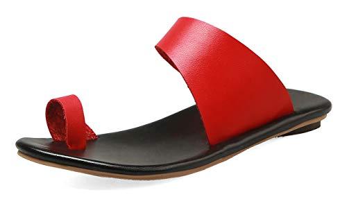 Aisun Women's Comfort Cutout Beach Sandy Slip on Toe Ring Flat Mules Slide Sandals (Red, 9 M US)