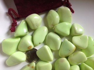 Tumbled Stones: Lemon Chrysoprase ~ 2 Tumbled Stones Size Med~ Ravenz Roost Stone with Pouch ~ Info - Gift The Card Balance Options