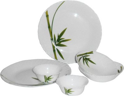 LaOpala Fluted Dinner Set, 35-Pieces, Green Dinnerware & Serving Pieces at amazon