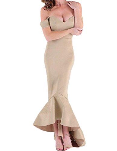 Abito of donna da beauty sirena the abito leader maniche a collo sera da festa da Champagne con V 6dnqgw