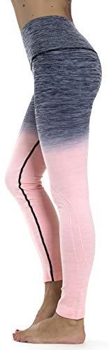 Prolific Health Fitness Power Flex Yoga Pants Leggings XS - XL (Large, Ombre Charcoal/Pink) (Victorias Secret Workout Bag)