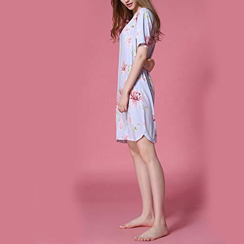 A scollo Plus T XL notte shirt donna V a Allattamento A al Camicia da Size con allentata JUNFELICIA Abito Color da notte Camicia seno floreale Infermieristica Size da Sd0qBvw