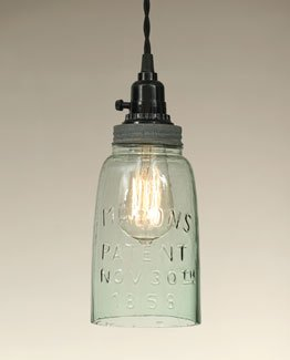 Barn Roof Tin Colored Half Gallon Mason Jar Pendant Lamp With Green Glass