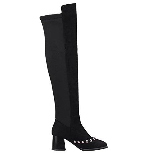 Stiefel Overknee und Modern Damen Schwarz AIYOUMEI mit Bequem Nieten Absatz 6cm Stiefel Langschaft Stretch Za7gxqxw4