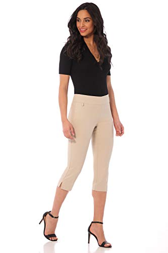 - Rekucci Women's Straight Leg Comfort Capri w/Tummy Control and Secret Pocket (6,Stone)