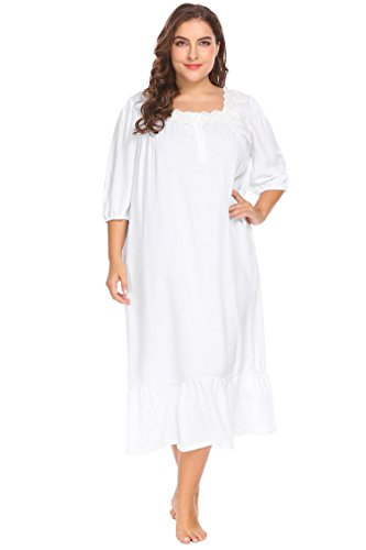 Lace Trim Nightdress (Acecor Women's Nightgown Sleep Shirt Half Sleeve Nightshirts Lace Trim Nightdress(White 3L))