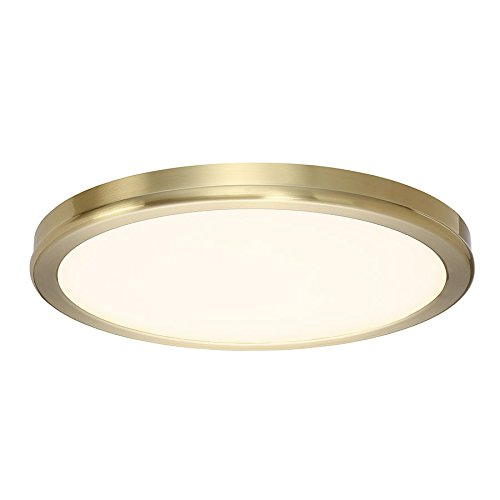 WAC Lighting FM-4610-30-BR Geos Round Low-Profile Flush Mount LED Fixture, Brass