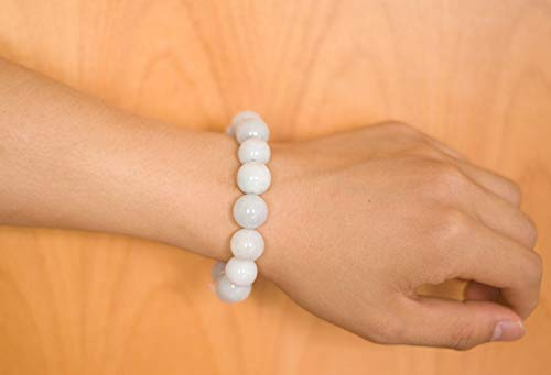 NW 1776 Natural Authentic Jade Jade Beaded Elastic Bracelet, Jade Bead Bracelet Designed for Good Fortune Courageous Lucky and Wealth (15 Light Green-13mm)