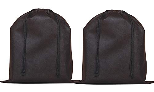 Santwo 2 Piece Non-woven Breathable Dust-proof Drawstring Handbags Storage Pouch (black)